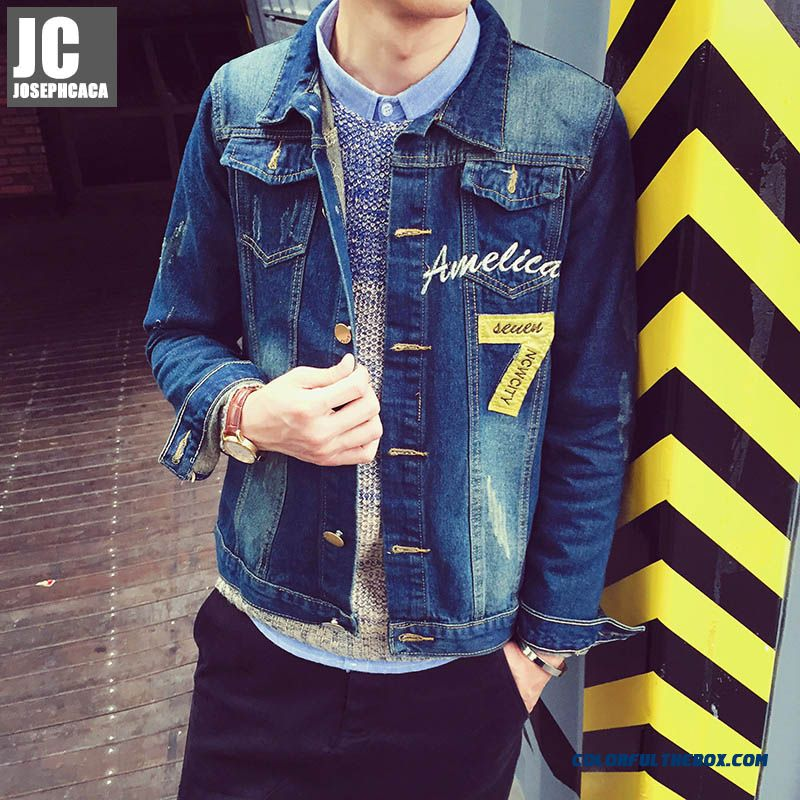 Men's New Autumn Coat Young Slim Denim Jacket Korean Versioon Promotion