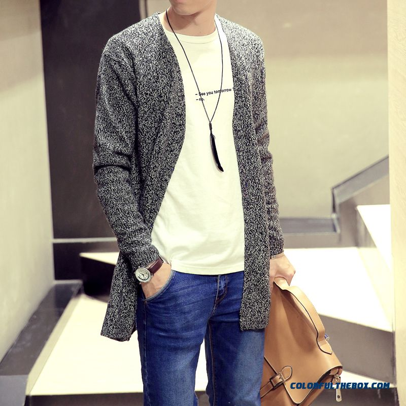Men's New Winter Medium-long Cardigan Sweater Pure Color Slim V-neck