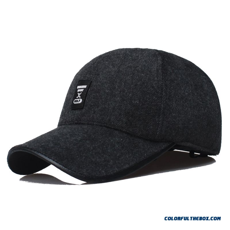 01aca14bb ... Men's Outdoor Sports Caps Thick Cashmere Baseball Cap Long Brimmed  Fashion Peaked Cap
