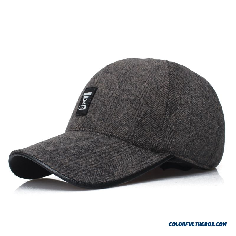 32dbf13d1 ... Men's Outdoor Sports Caps Thick Cashmere Baseball Cap Long Brimmed  Fashion Peaked Cap ...
