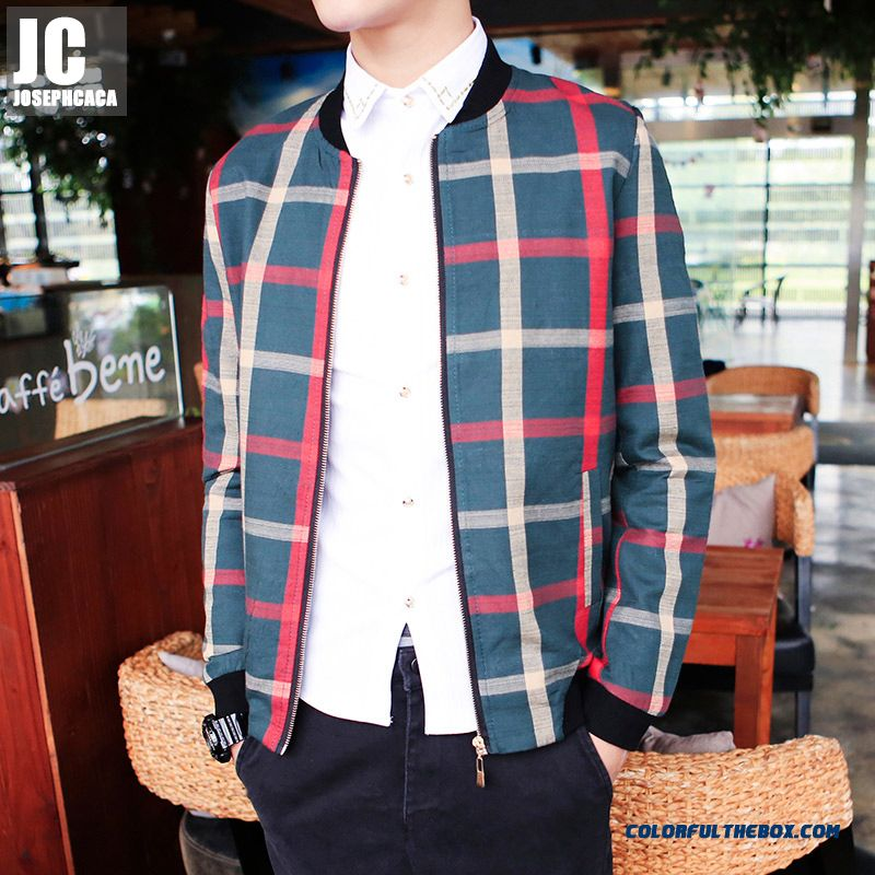 Men's Retro Slim Personality Outside Plaid Long-sleeved Autumn Jacket