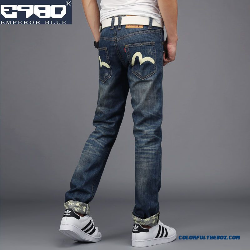 Men's Retro Slim Straight Jeans Casual Long Tide Personality