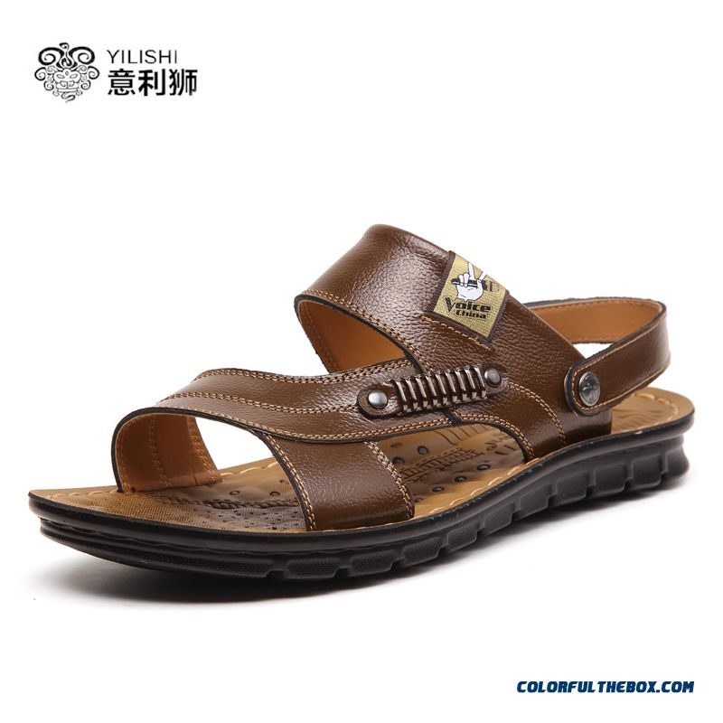 Men's Sandals Leather Breathable Summer British Style Of Shoes