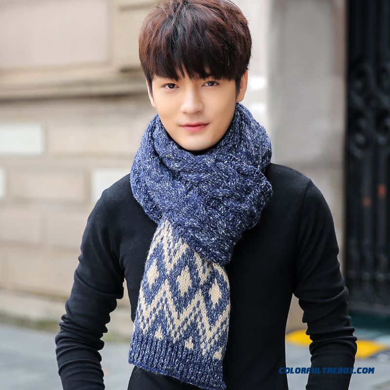 Men's Scarves Warm Scarf Korean Style Mixed Color Twisted Kinted Unisex Scarves Good Quality