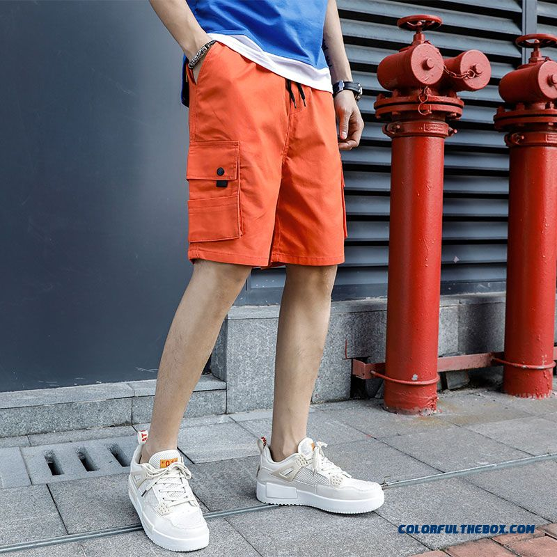 Men's Short Pants Red Summer Leisure Europe Tooling Comfortable Loose Fashion Trend