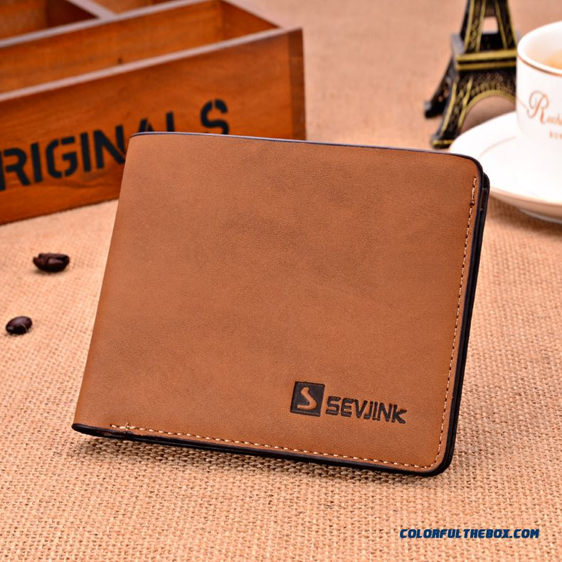 Men's Short Wallet Men Vertical Wallets Ultrathin Genuine Leather Retro Matte Bags
