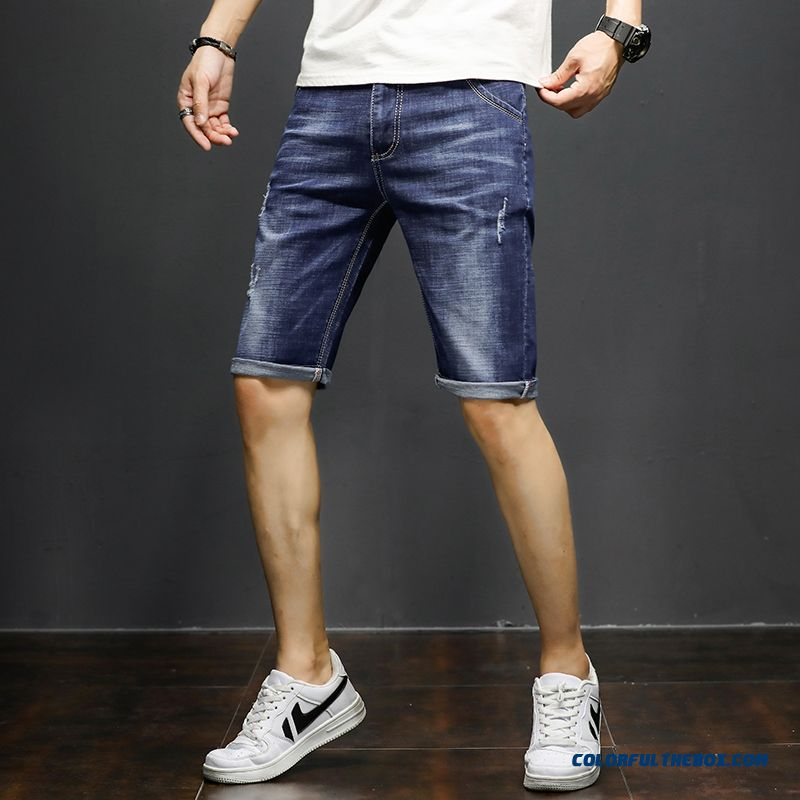 Men's Skinny Trend Jeans Pants Summer Shorts Blue Straight Hole Short Pants Elasticity Loose Europe