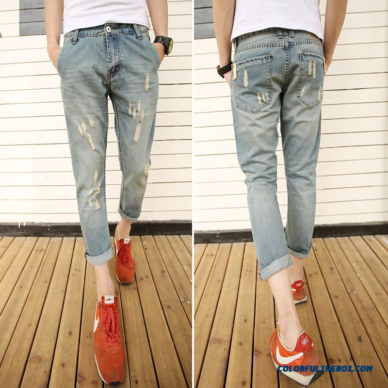 Men's Slim Summer Loose Ankle-length Ripped Jeans British Style