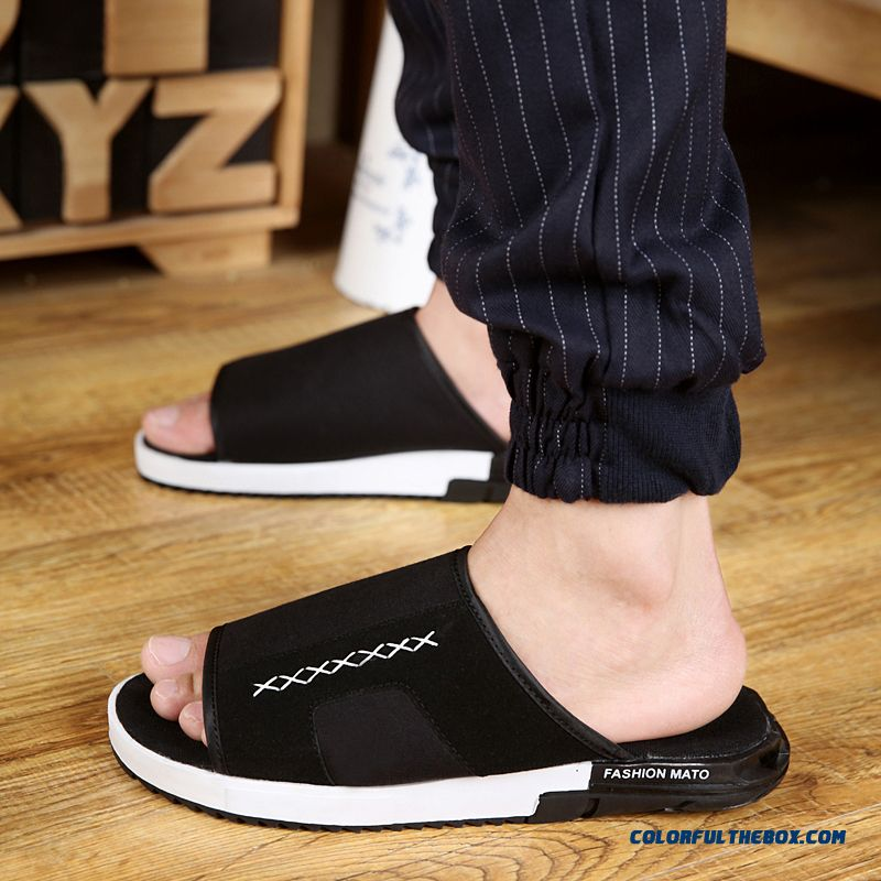 Men's Slippers Antiskid Personality Fashion Black Lazy Shoes