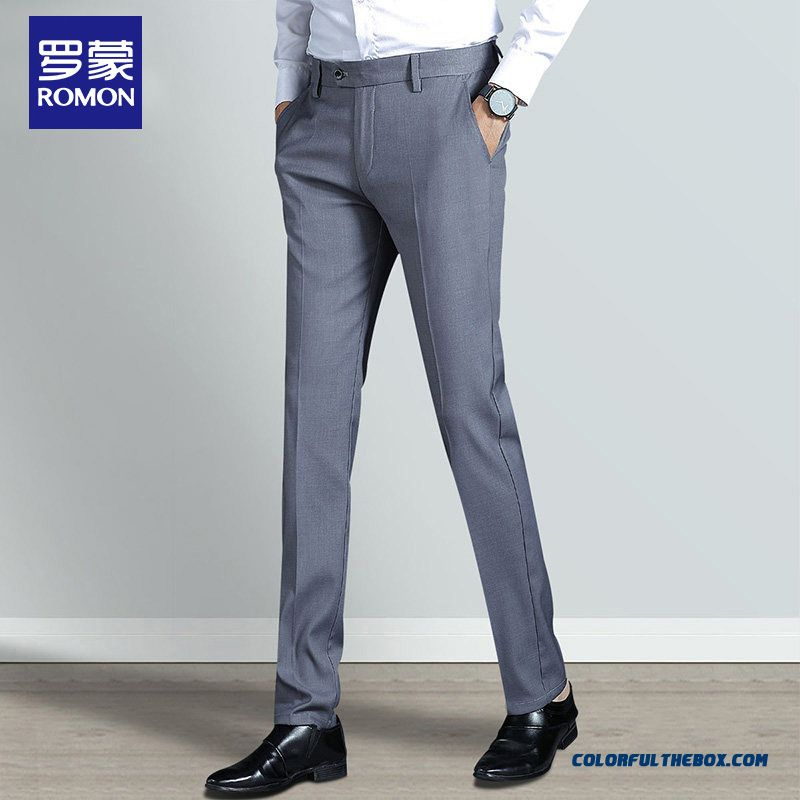 Men's Suit Pants Summer Straight Youth Leisure New Gray Slim