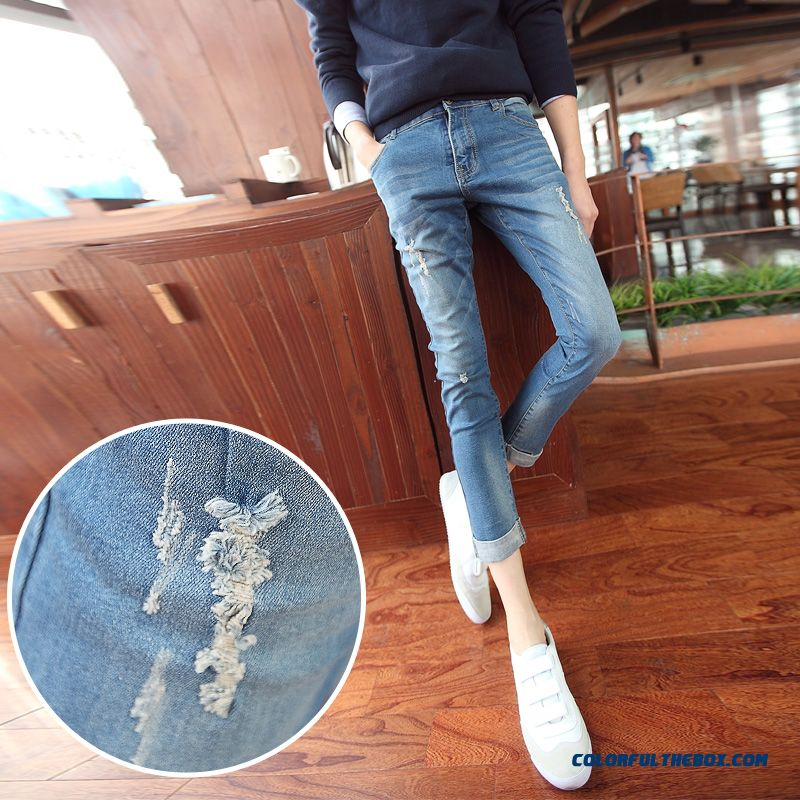Men's Summer Ankle-length Ripped Jeans Elastic Slim Korean Vertion Tide