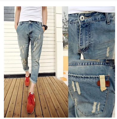 Men's Summer Ankle-length Ripped Jeans Slim Fashion Sale