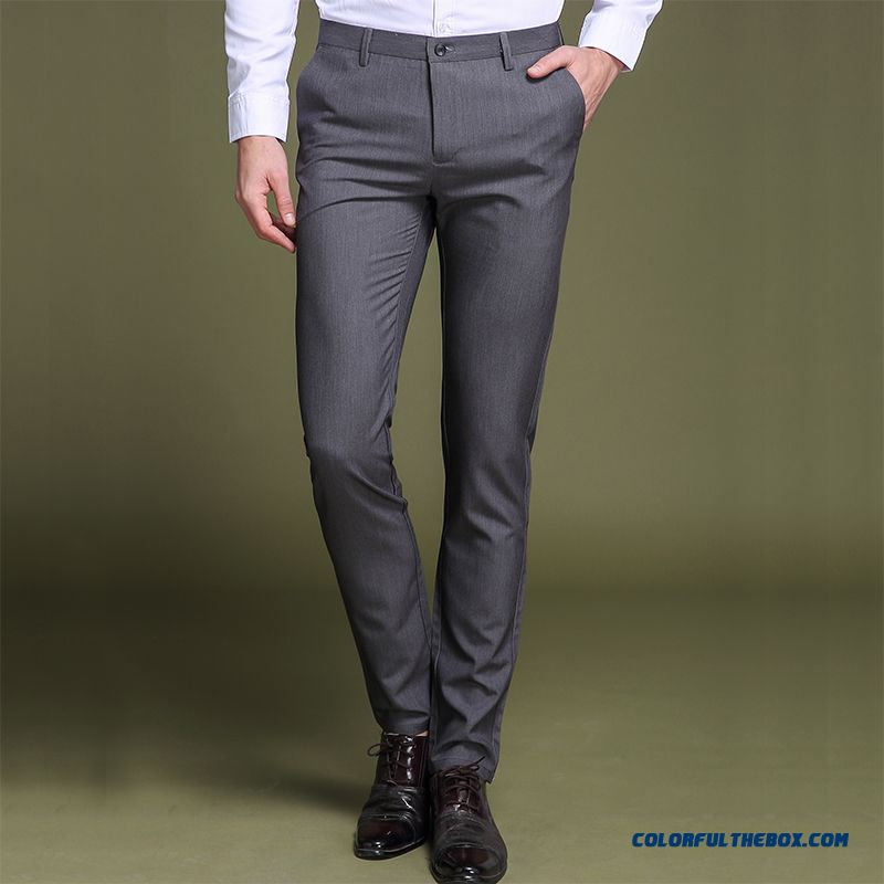 Men's Summer Leisure Ultra Pants Office Skinny Slim Gray