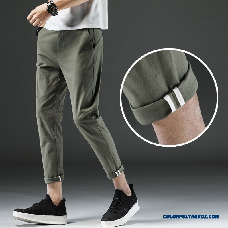 Men's Summer Loose Military Green Slim Pants Skinny Ninth Pants Leisure Straight