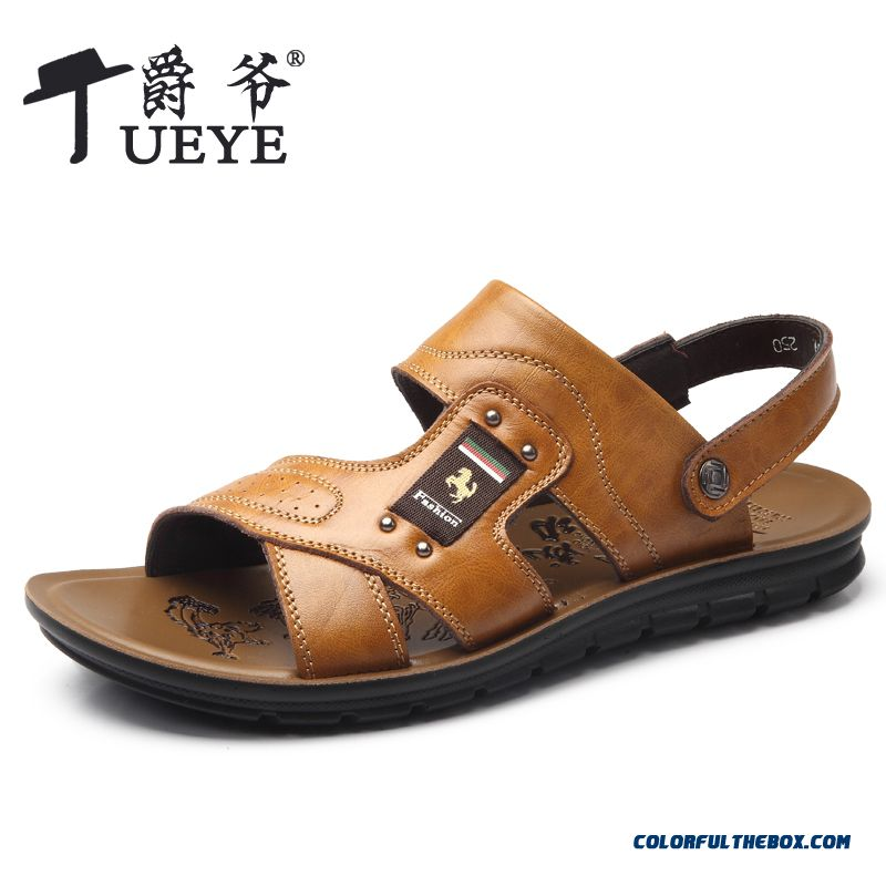 Men's Summer New Breathable Leather Sandals Casual Beach Shoes