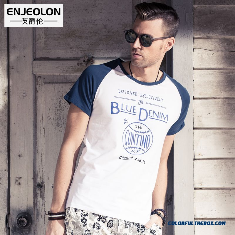 Men's Summer New Hit Color Style Letter Cotton Short-sleeved Tees Popular In Europe And America
