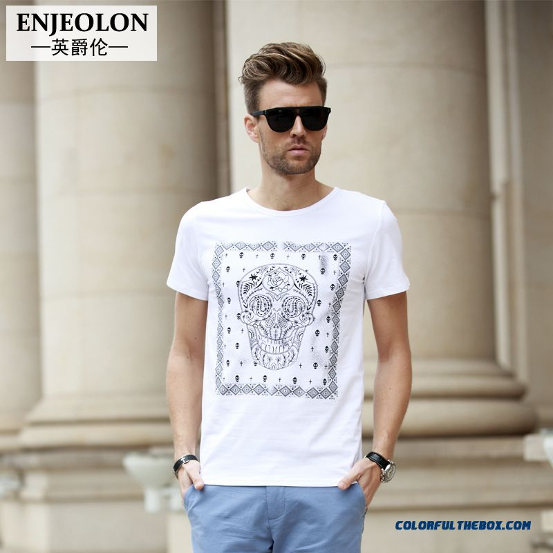Men's Summer New National Printing Personality Skull Tees Tide Free Shipping