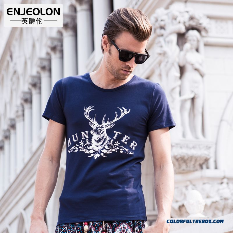Men's Summer New Personality Printing Slim Crew Neck Short Sleeve Tees Free Shipping