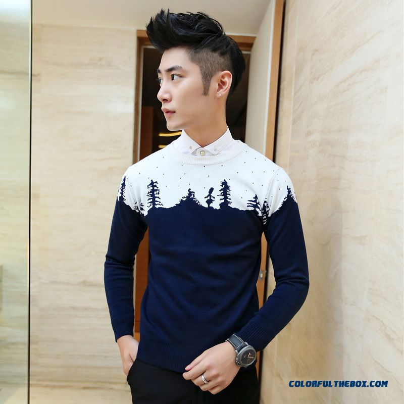 Men's Sweater Round Neck Knitwear Slim Leaf Pattern Spell Color Casual