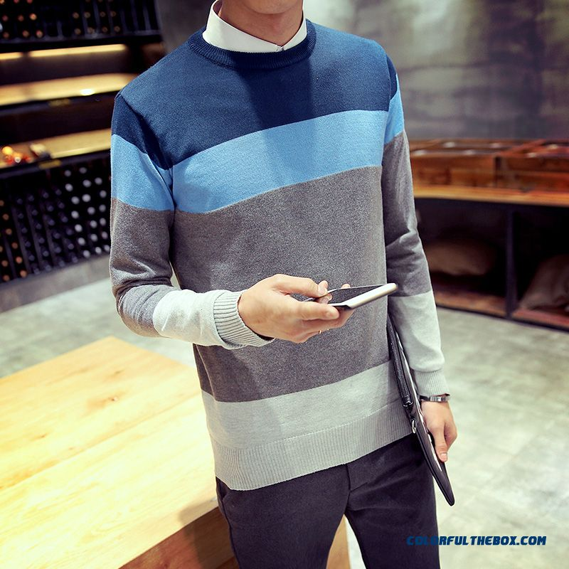 Men's Sweaters Knitwear Slim Hit The Color Stitching Round Neck Pull