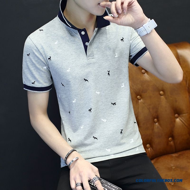 Men's T-shirt Summer Trend Short Sleeve Printing Loose Personality Leisure Lapel Flower New