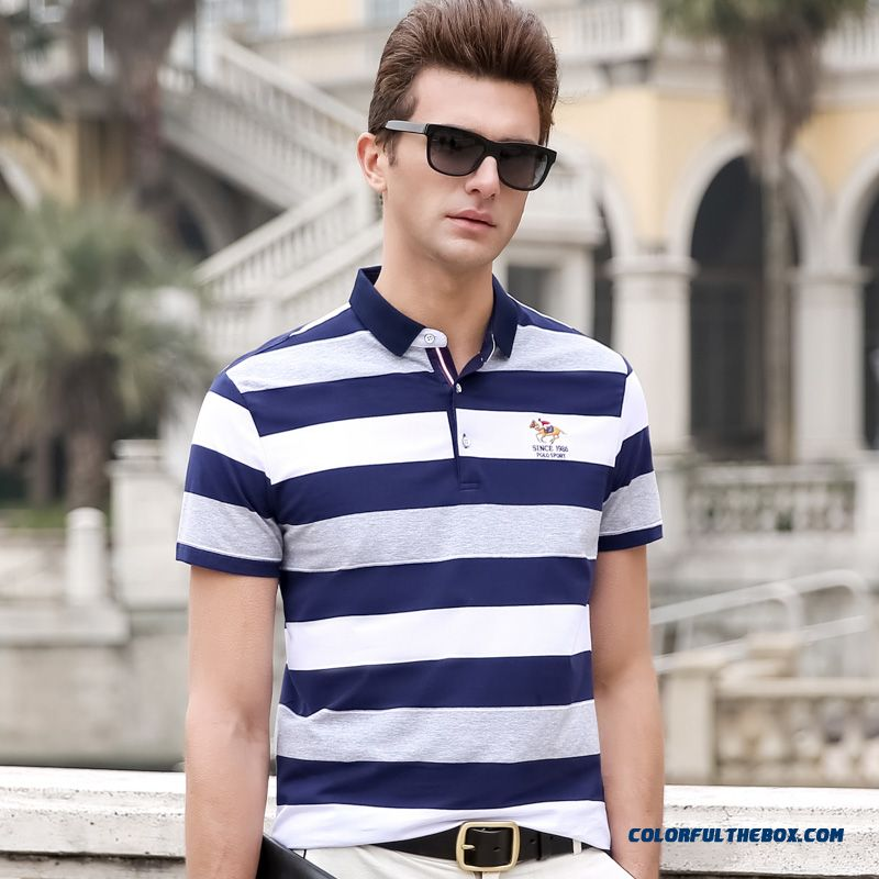 Men's T-shirts Fashion Blue White