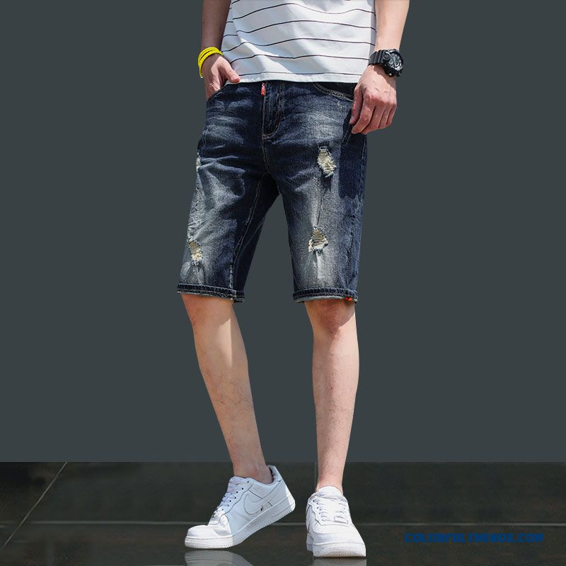 Men's Trend Shorts Summer Hole Europe Short Pants Skinny Loose Leisure Black Slim