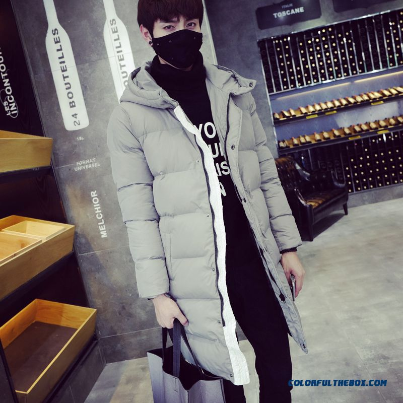 Men's Winter Hooded Coat Thick Long Slim Grey Large Size Free Shipping