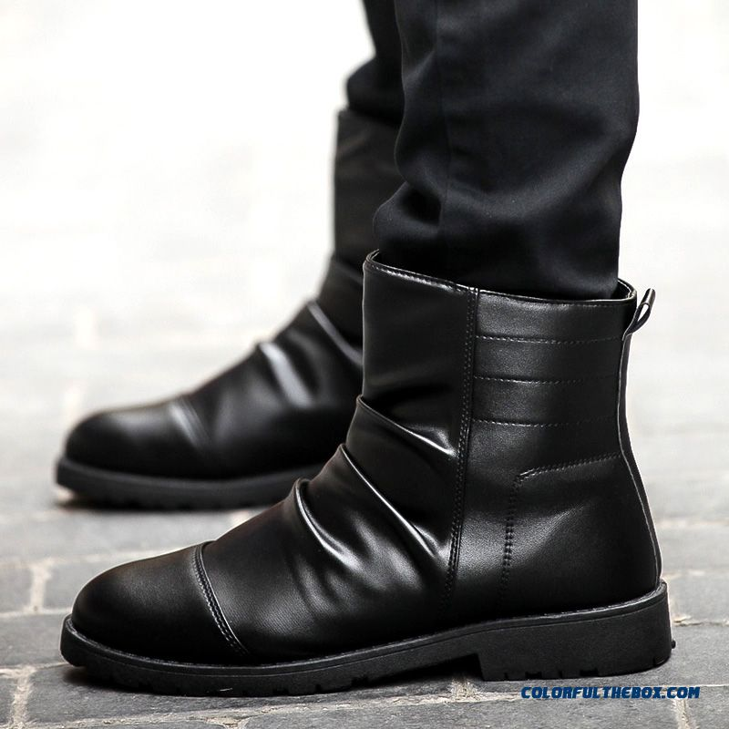 Men's Winter Leather Boots Plus Velvet Black Tide Free Shipping