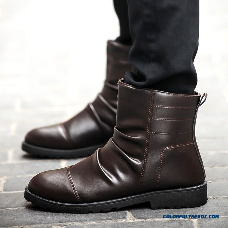 Men's Winter Leather Boots Plus Velvet Black Tide Free Shipping - more images 2