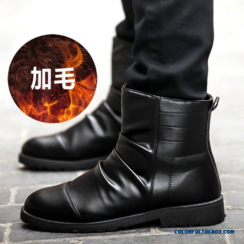 Men's Winter Leather Boots Plus Velvet Black Tide Free Shipping - more images 3