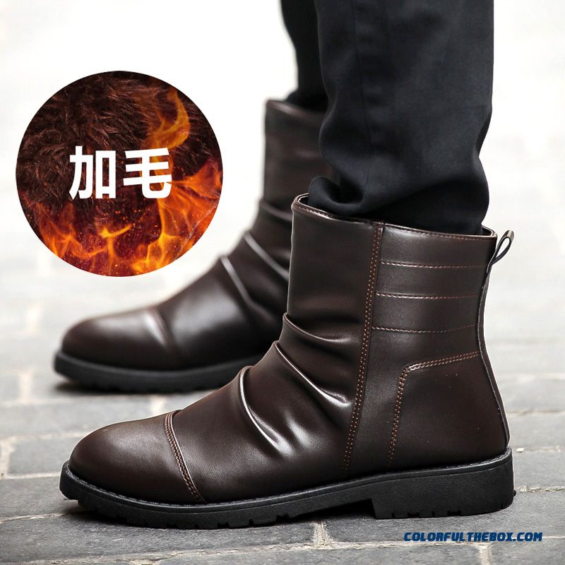Men's Winter Leather Boots Plus Velvet Black Tide Free Shipping - more images 4