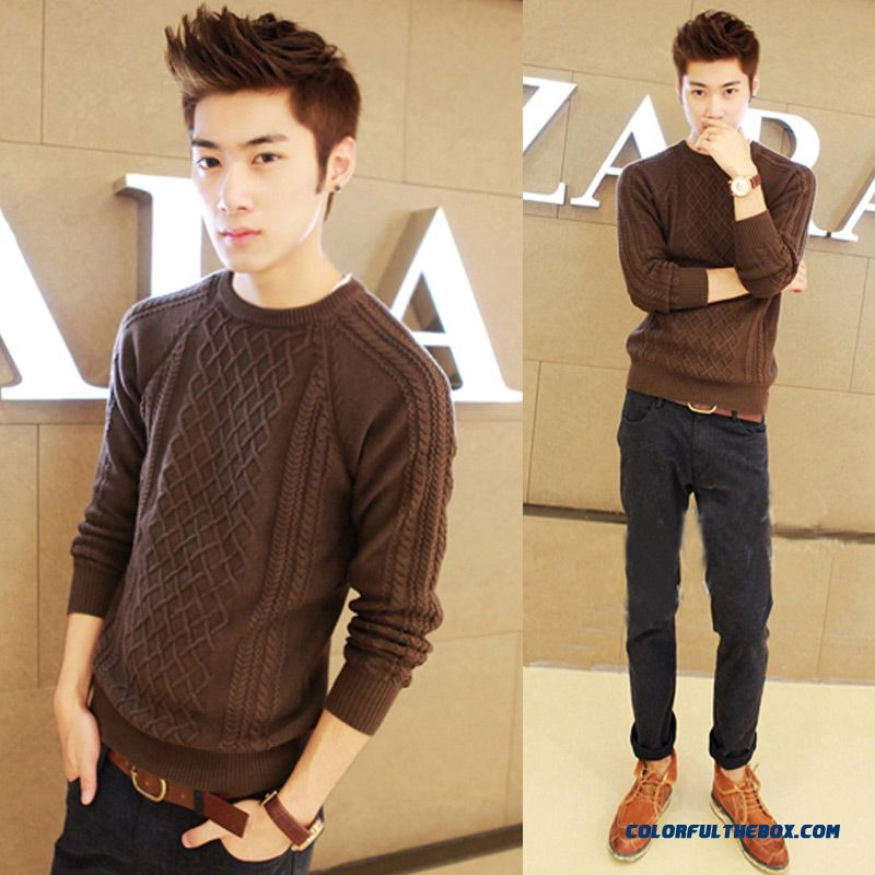 Men's Winter Pullover Thick Slim Long Sleeve Knitwear Sweater Cheap