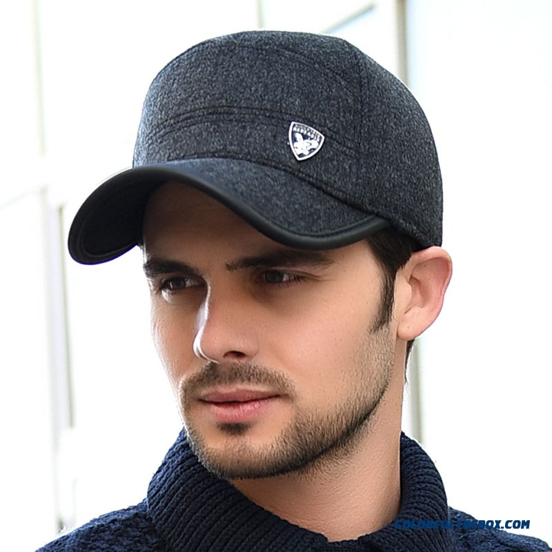 Men's Winter Thick Woolen Hat Middle-aged Cotton Proteced Ear Cap