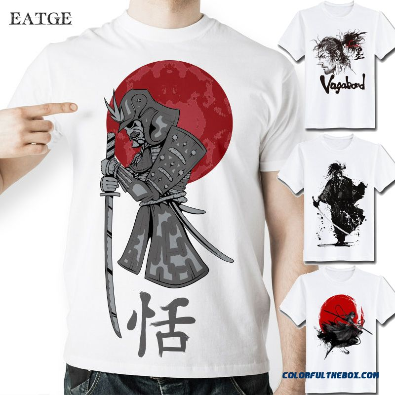 Mens T Shirts Fashion 2016 Anime T-shirts Japanese Samurai Letter Warrior 3d T Shirt For Both Men Women Short Sleeve Tee Erkek