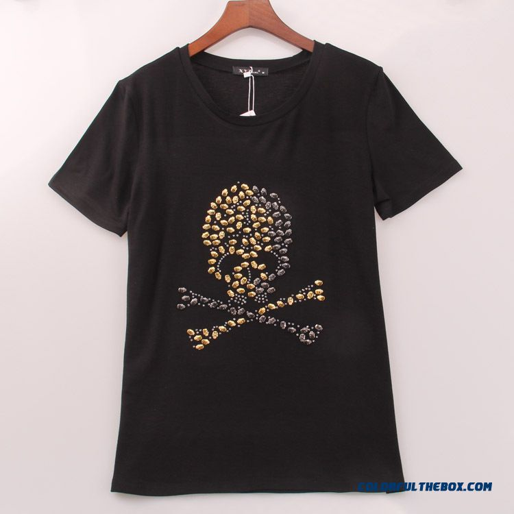 Metal Skull Hot Fix Rhinestone Round Neck Short-sleeved T-shirt Whirt Black Summer Women Blouses
