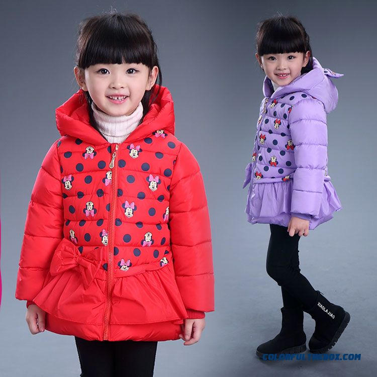 Mickey Kids Girls Thick Cotton Jacket Red Purple Youth Energetic Jacket Kids Clothing