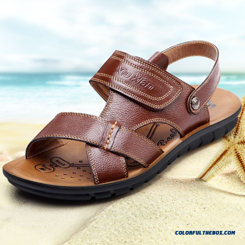 Middle-aged Father Antiskid Soft Bottom Soft Leather Men's Sandals - more images 1