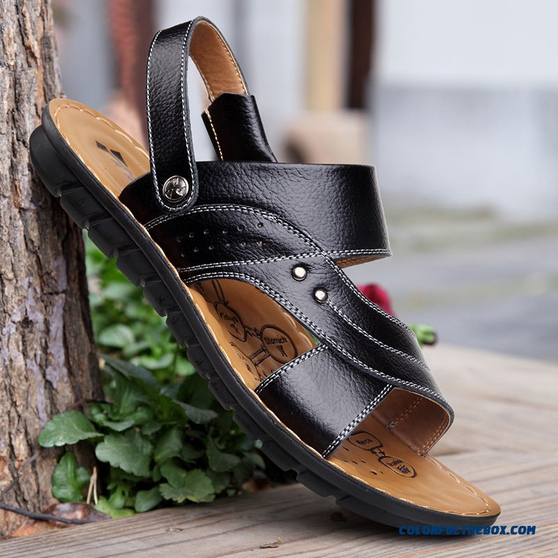 Middle-aged Father Antiskid Soft Bottom Soft Leather Men's Sandals - more images 2