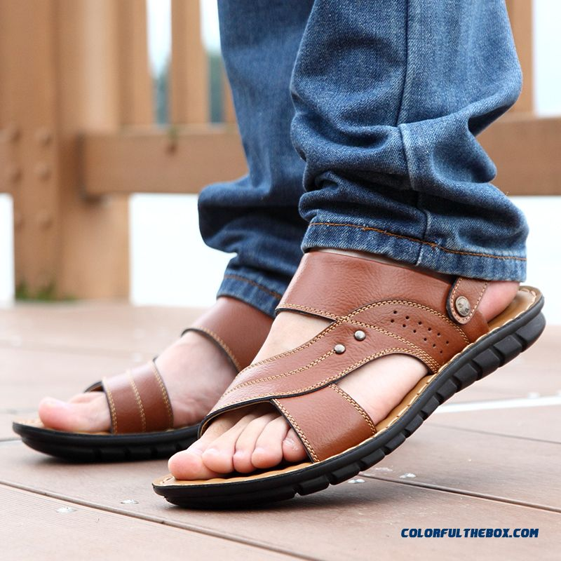 Middle-aged Father Antiskid Soft Bottom Soft Leather Men's Sandals - more images 3