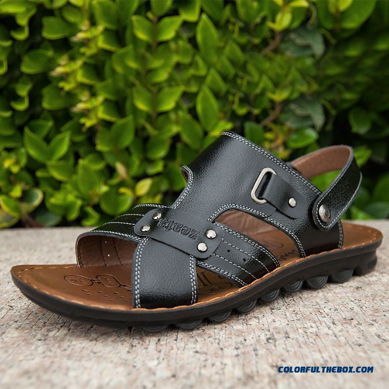 Middle-aged Father Antiskid Soft Bottom Soft Leather Men's Sandals - more images 4