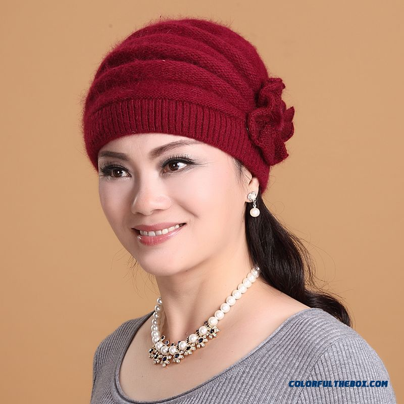 Middle-aged Ladies Women Cap Warm Angora Hat Knitted Hat Solid Free Shipping