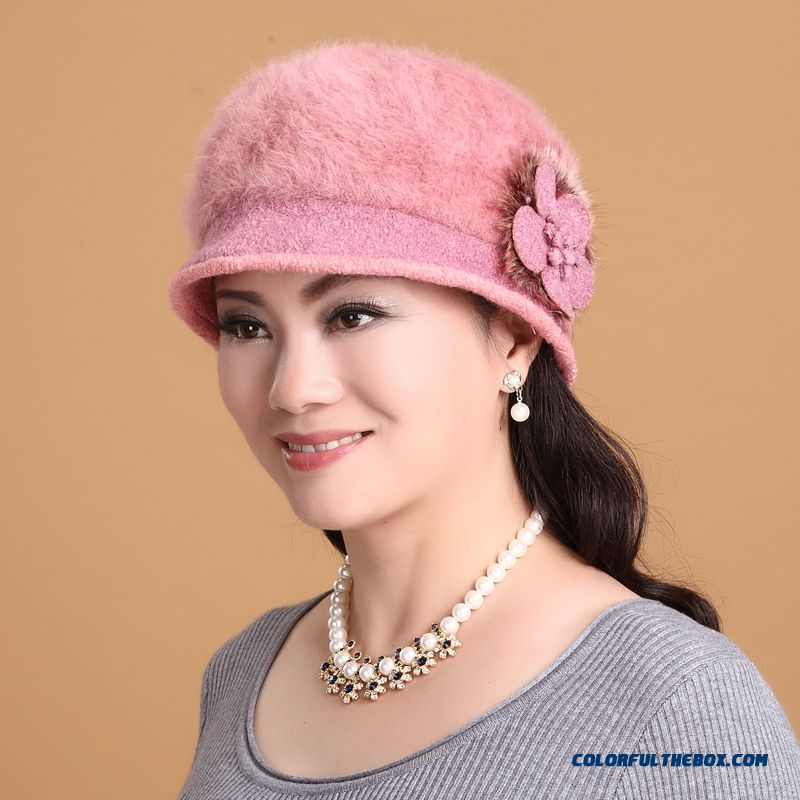Middle-aged Ladies Women Fashion Autumn And Winter Warm Angora Double Hat With Protect Ear Function