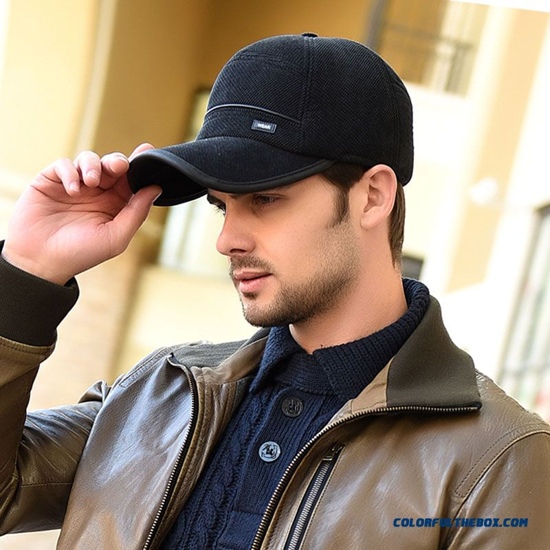 Middle-aged Large Brimmed Ear Proteced Peaked Cap Outdoor Warm Cotton Baseball Cap Men's Accessories