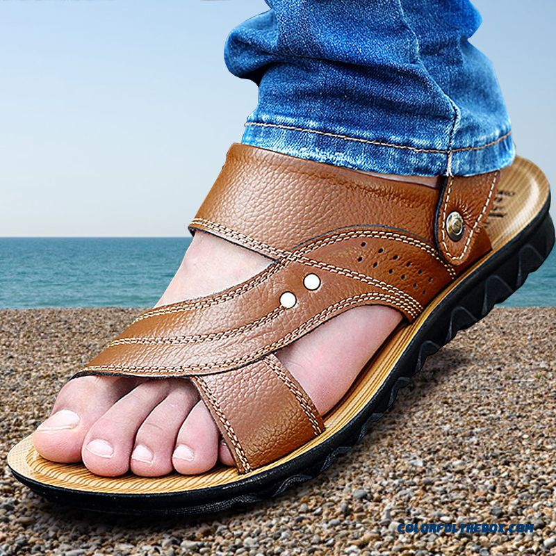 Middle-aged Men's Leather Sandals Breathable Open Toe Beach Shoes