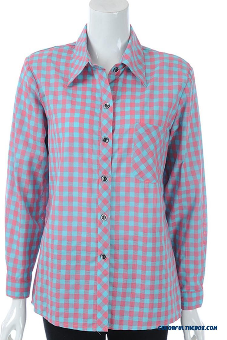 Middle-aged Women Clothing Long-sleeved Cotton Shirts Cotton Plaid Shirt