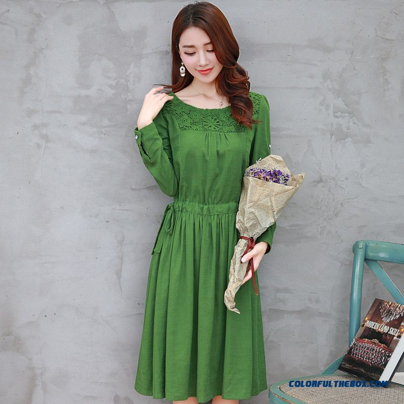 Middle-aged Women Dress Summer New Short-sleeved Linen Slim Medium Style Large Size