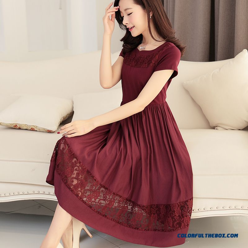 Middle-aged Women Dress Summer New Short-sleeved Medium Style Large Size