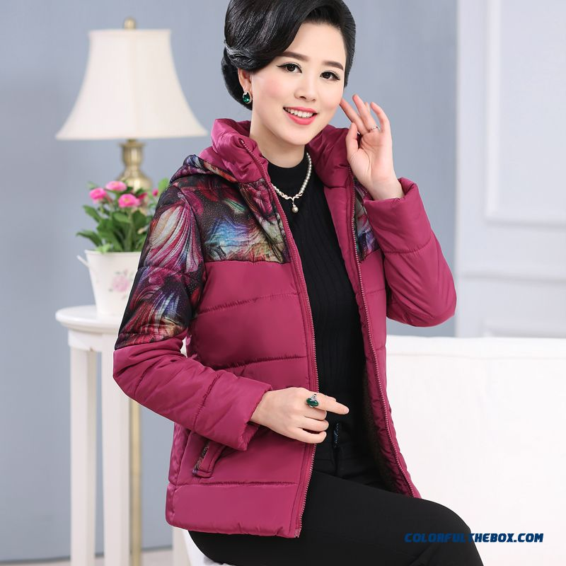 Middle-aged Women Mother Dress Winter Coat Plus Velvet Hooded Loose Large Size Jacket Coat New