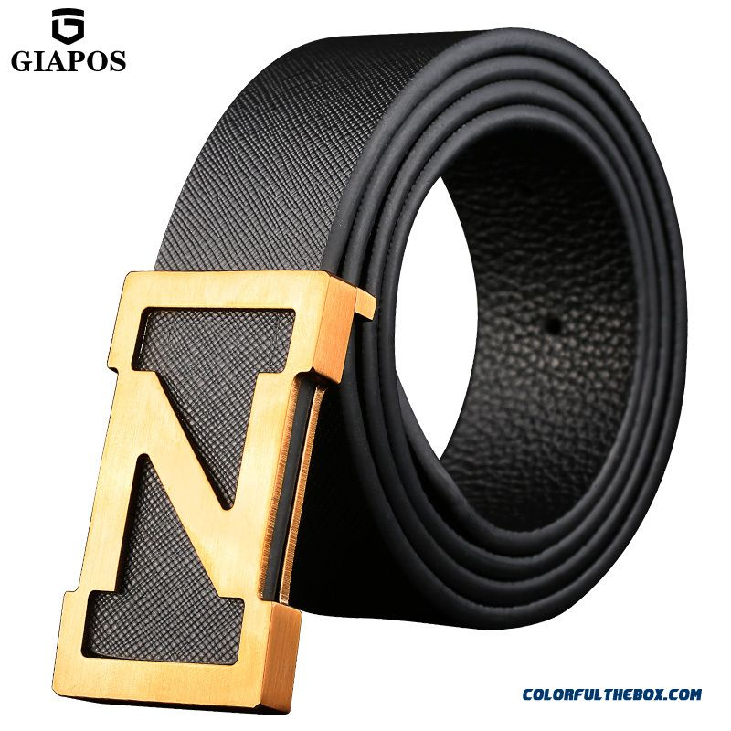 Middle-aged Youth Board Buckle Genuine Leather Cowhide Copper Buckle Smooth Buckle Belts Men's Accessories 105-125 Cm